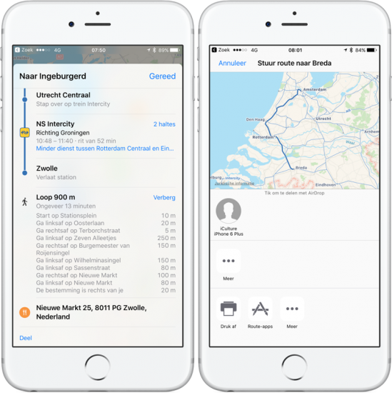 Apple Kaarten OV-routes delen