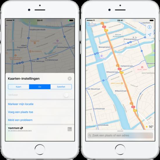 Apple Kaarten OV-lijnen bekijken