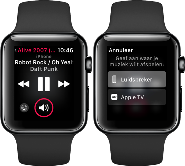 AirPlay bedienen op een Apple Watch.