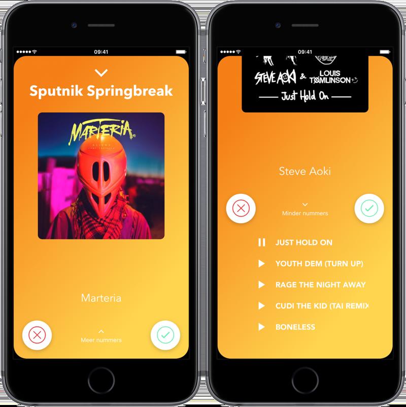 Line 'em Up app: meer muziekfragmenten beluisteren