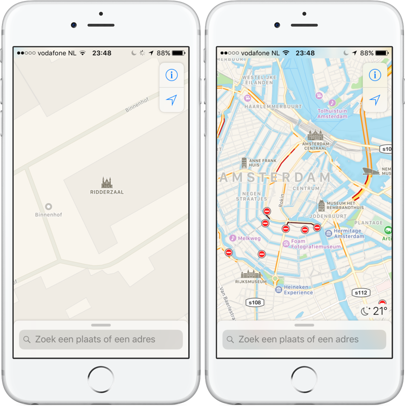 Apple Maps Ridderzaal Den Haag en bekende gebouwen Amsterdam