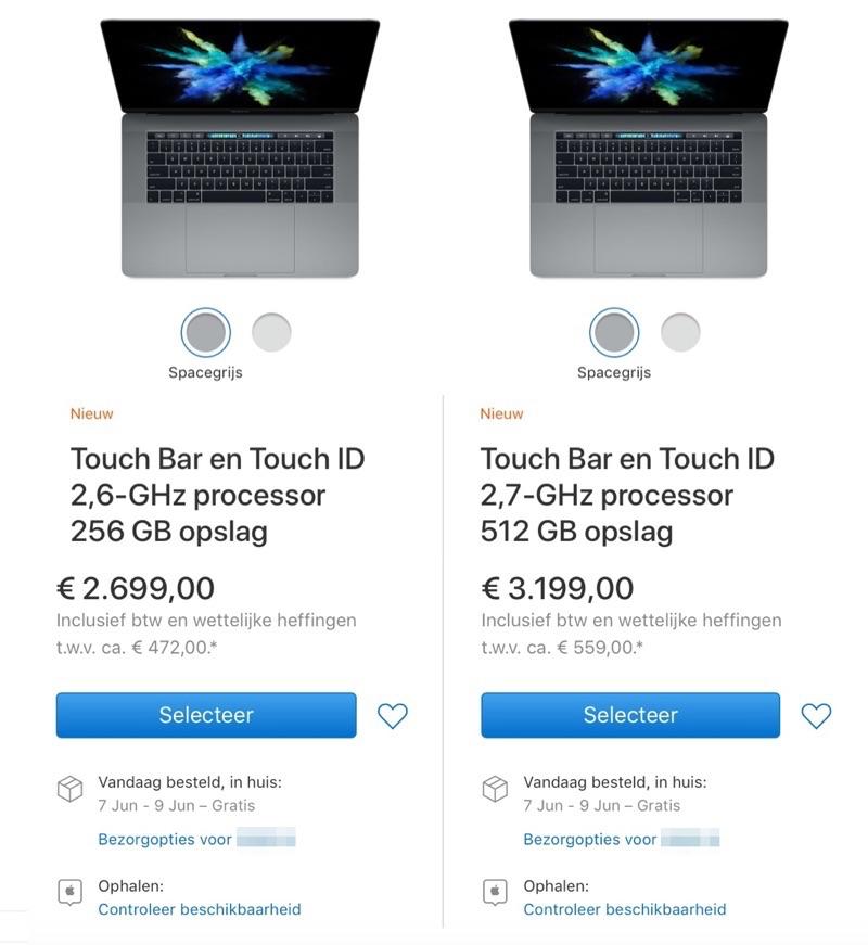 Levertijden MacBook Pro 15-inch tijdens WWDC 2017.