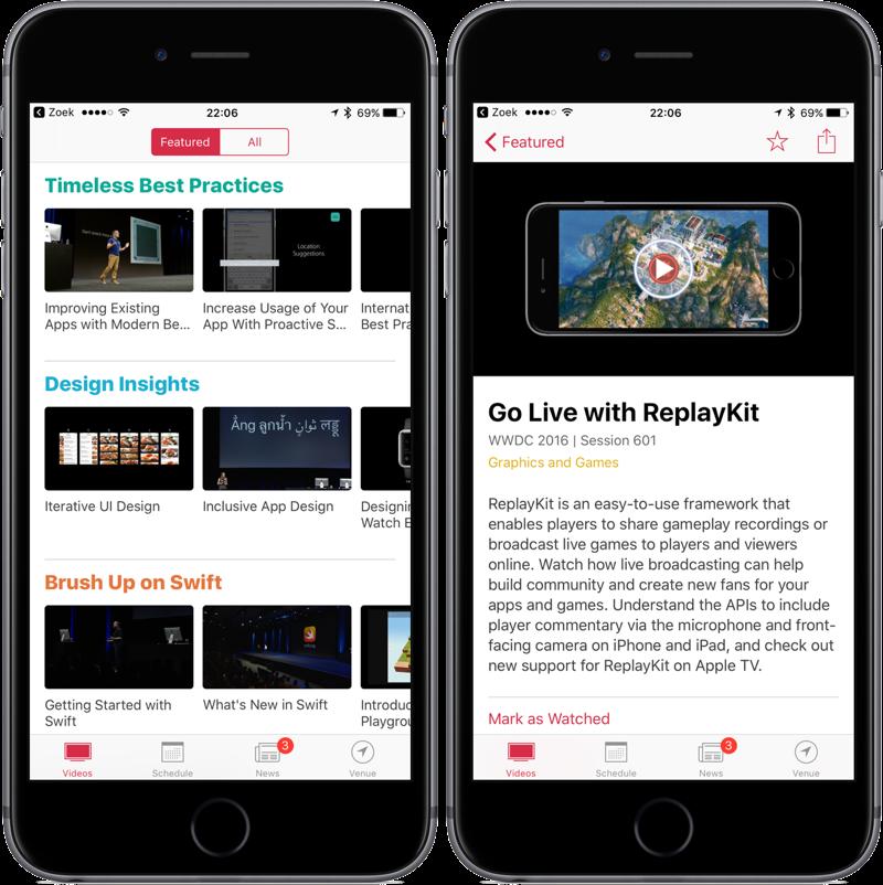 WWDC 2017 vernieuwde app