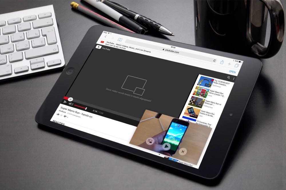 PiPifier op de iPad met YouTube.