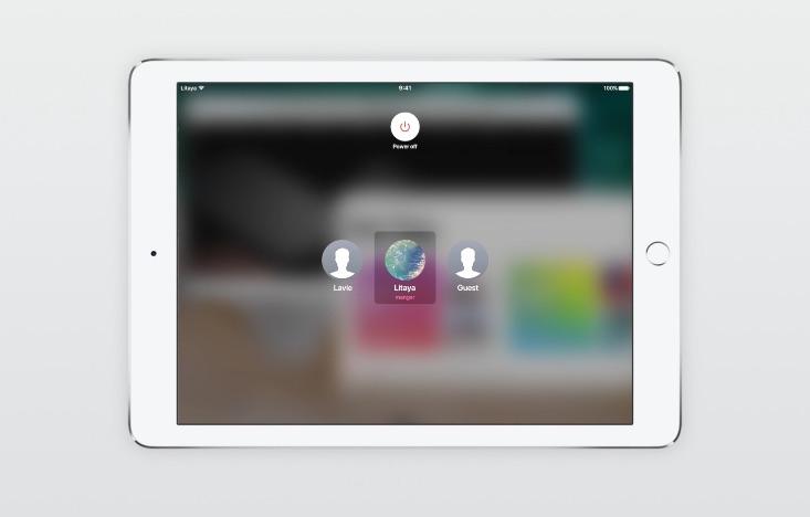 Meerdere gebruikers op de iPad in iOS 11 concept.