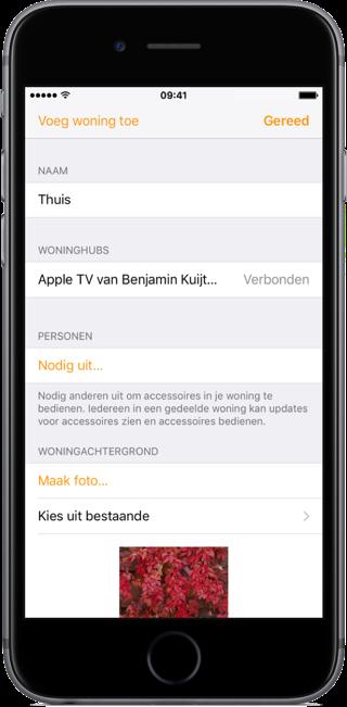 Hub voor HomeKit controleren in Woning-app.