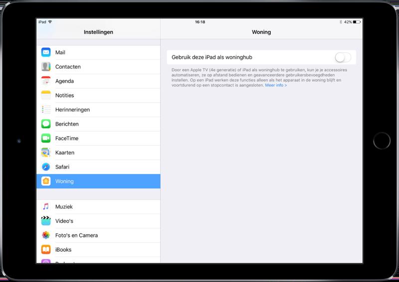iPad instellen als woninghub voor HomeKit.