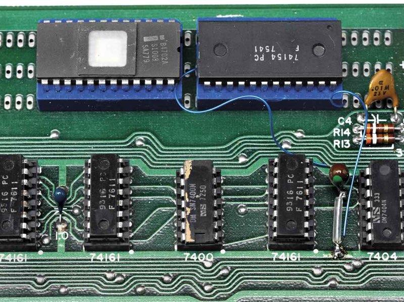 Apple 1 veiling: close-up van componenten