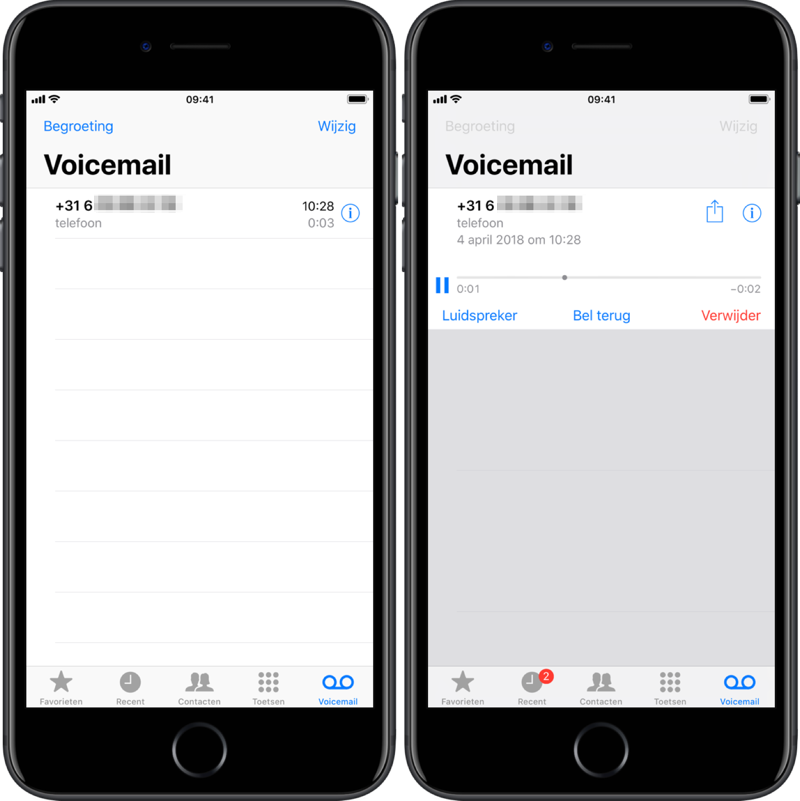 Visual Voicemail beluisteren.