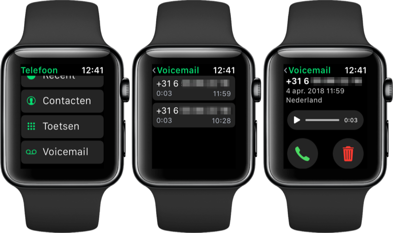 Visual Voicemail op de Apple Watch.