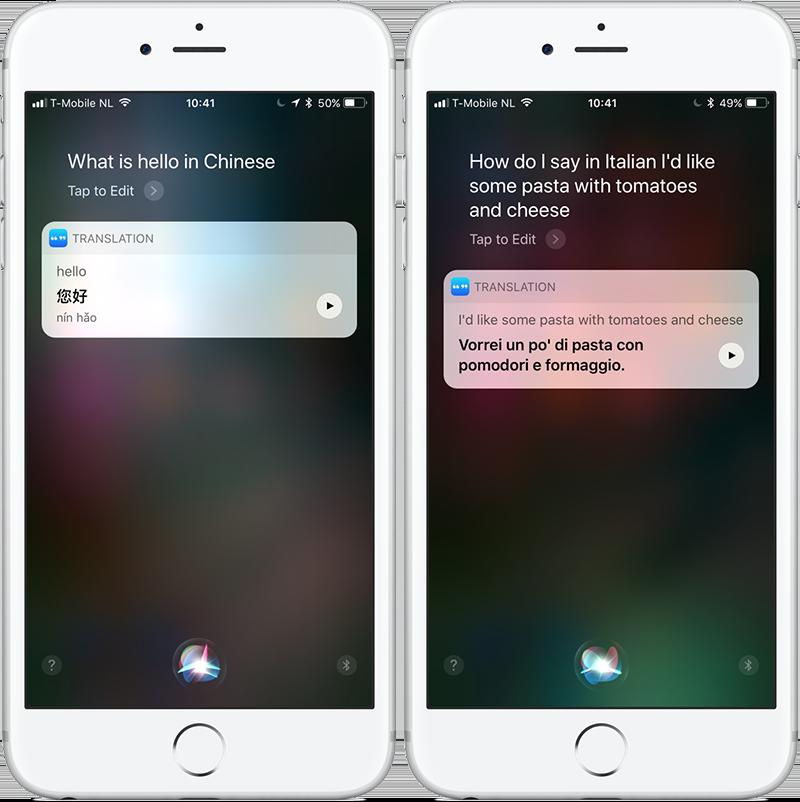 Siri iOS 11 vertalingen