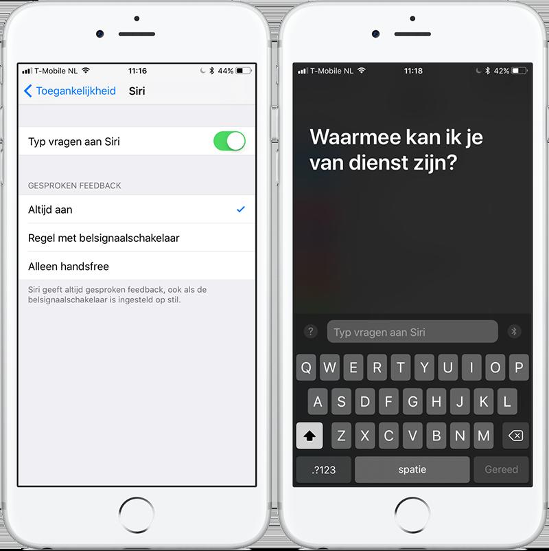 Siri in iOS 11: vragen typen aan Siri