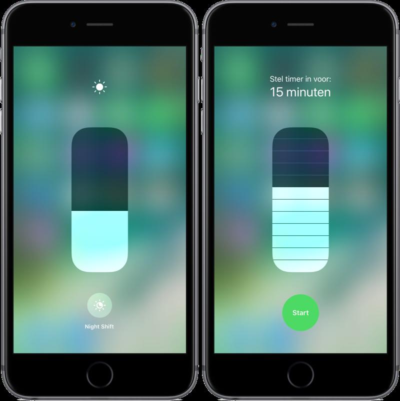 Bedieningspaneel in iOS 11 met helderheid en timer.