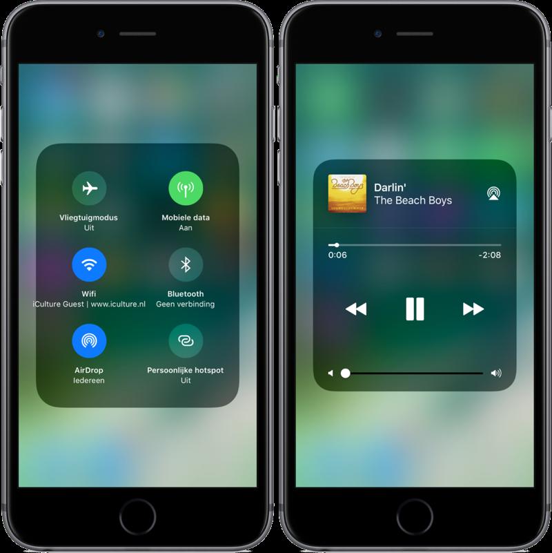 Bedieningspaneel in iOS 11 met instellingen en muziek.