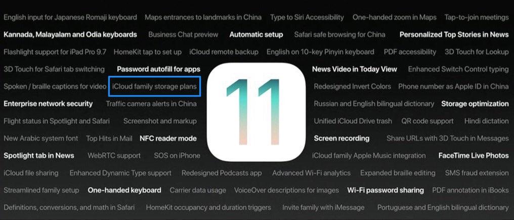 iCloud opslag voor gezinsdeling in iOS 11.