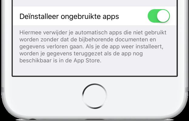 Ongebruikte apps verwijderen