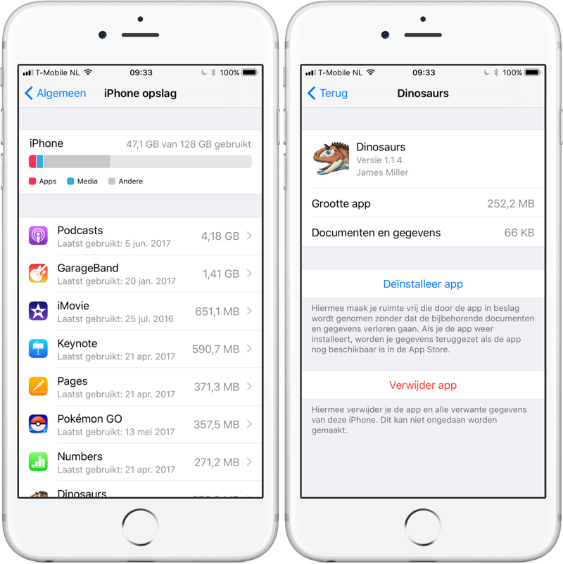 iOS 11 opslagtools
