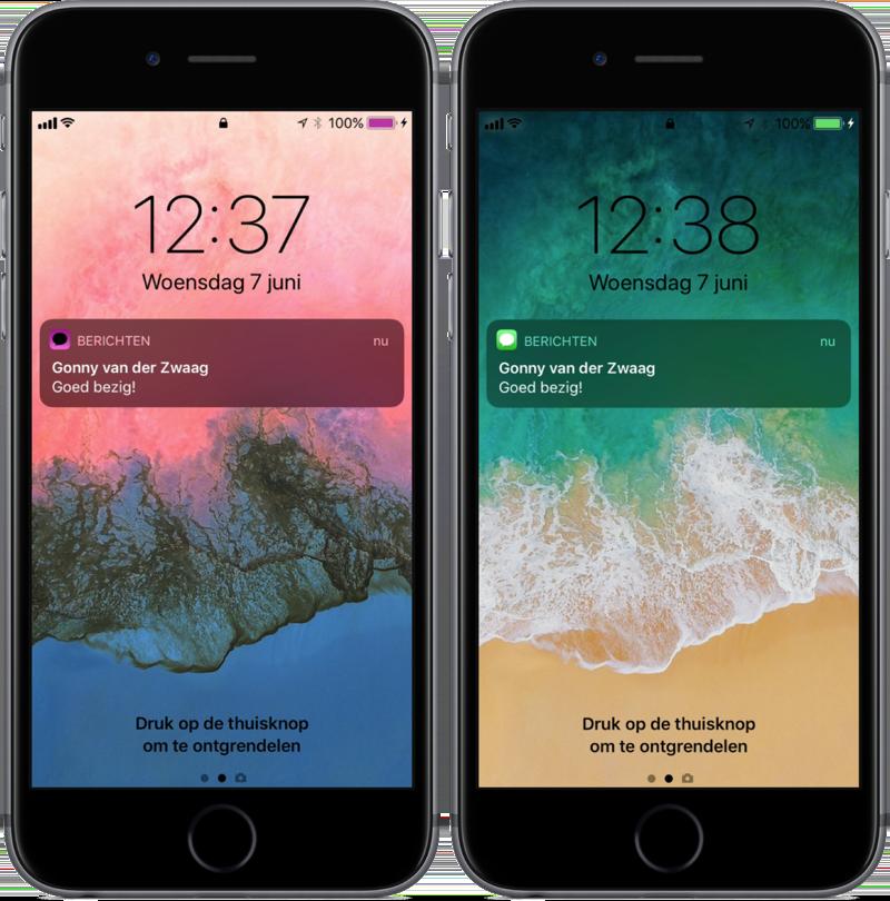 iOS 11 met keer kleuren slim om op het toegangsscherm.