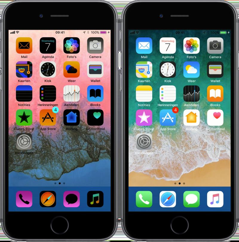 iOS meet keer kleuren slim om op het beginscherm.