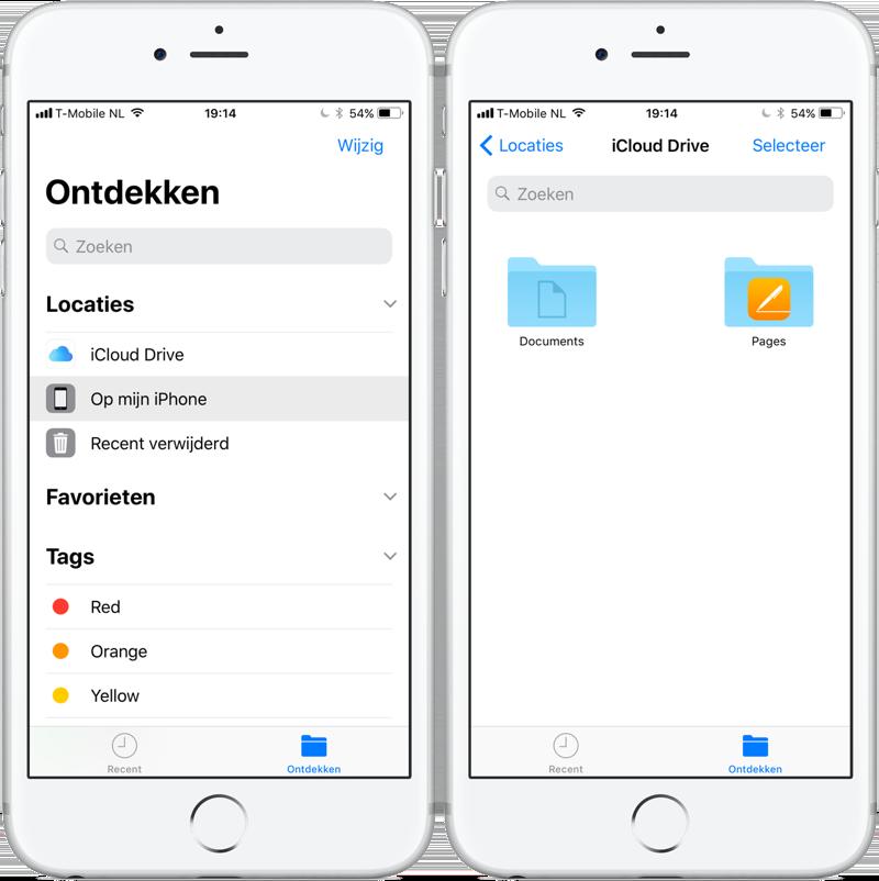 Bestanden-app locaties