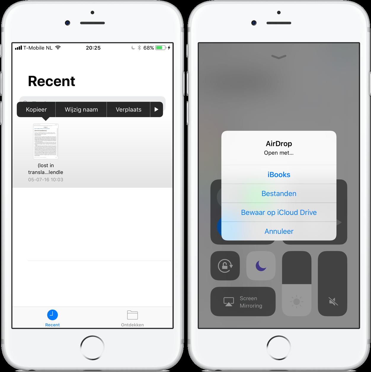 Bestanden-app: delen en ontvangen