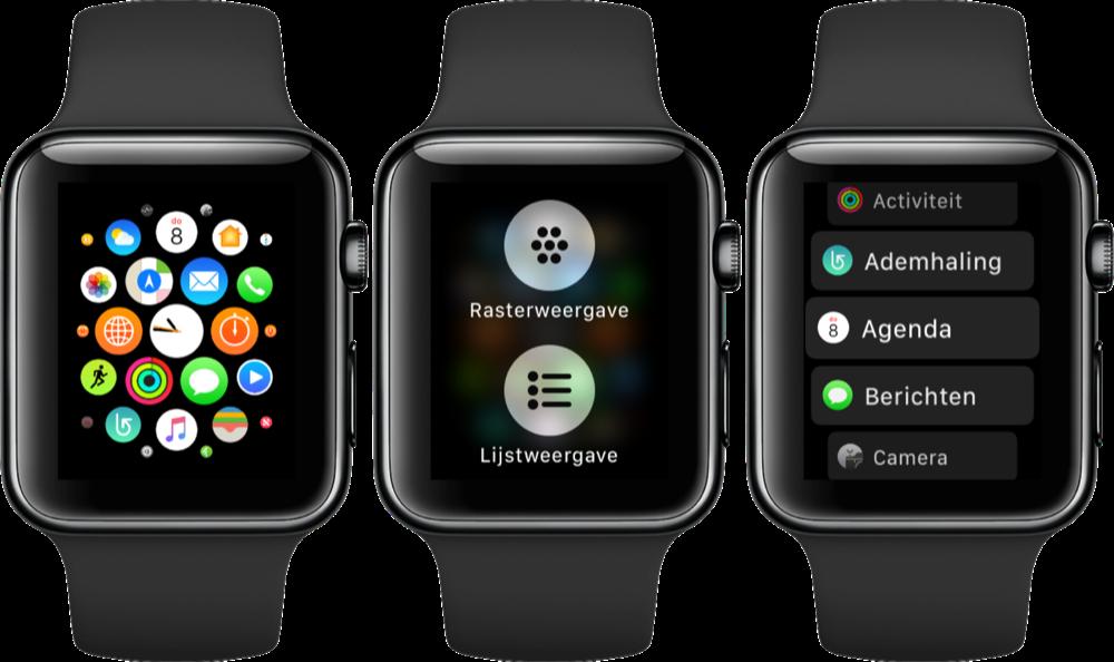 Apple Watch met lijstweergave.