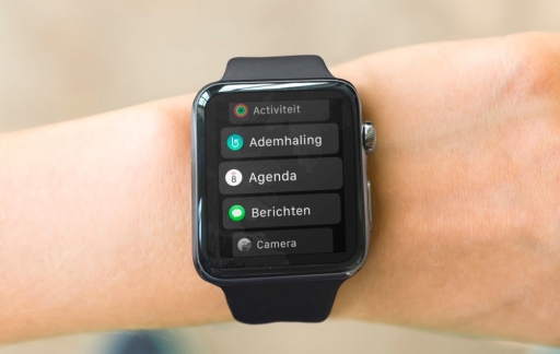 Apple Watch met lijstweergave op je pols.
