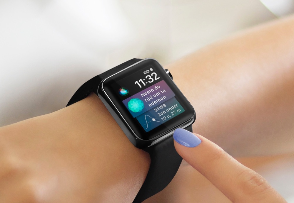 Siri-wijzerplaat in watchOS 4 op de Apple Watch.