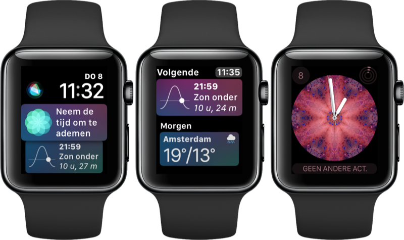 Nieuwe wijzerplaten in watchOS 4 op Apple Watch.