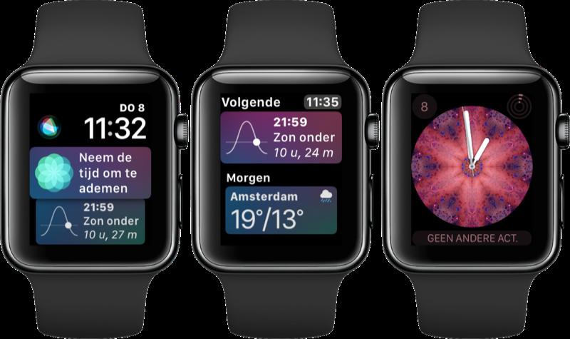 Nieuwe wijzerplaten in watchOS 4 op Apple Watch.