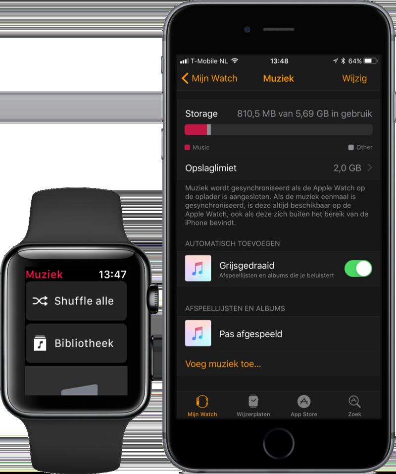 Nieuwe Muziek-app in watchOS 4 op Apple Watch.