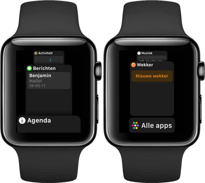 Nieuwe Dock in watchOS 4 op Apple Watch.