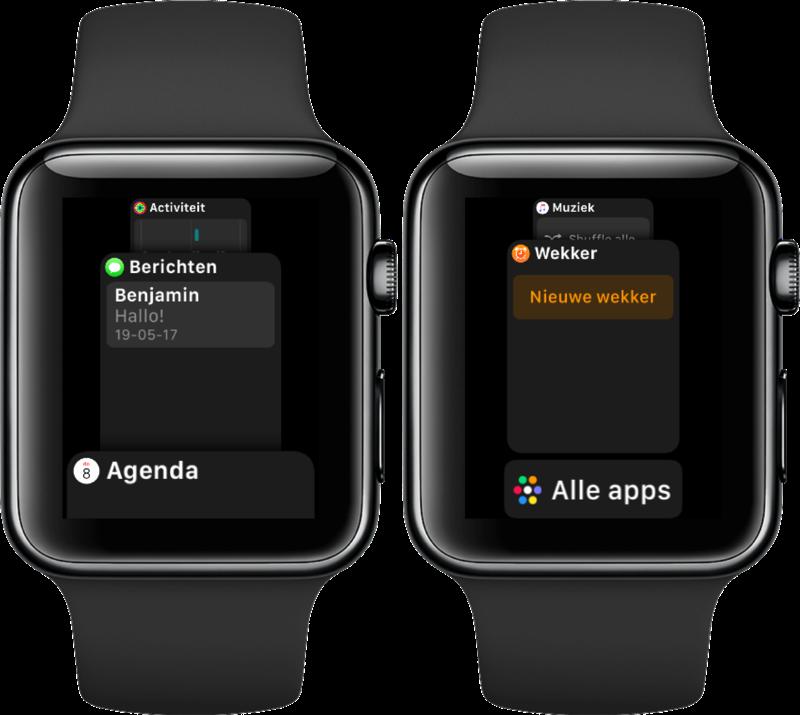 Nieuwe Dock in watchOS 4 op Apple Watch.
