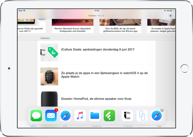 iPad met iOS 11 en de Dock.