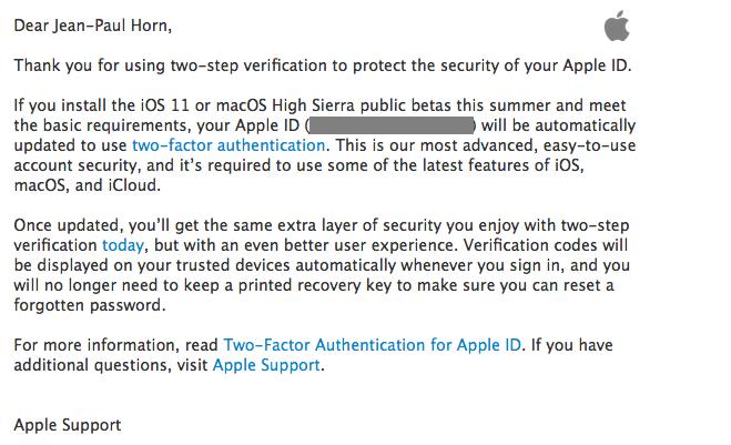 iOS 11 tweefactorauthenticatie
