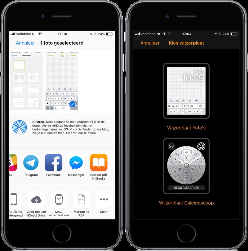 Foto's extensie naar wijzerplaat in iOS 11.