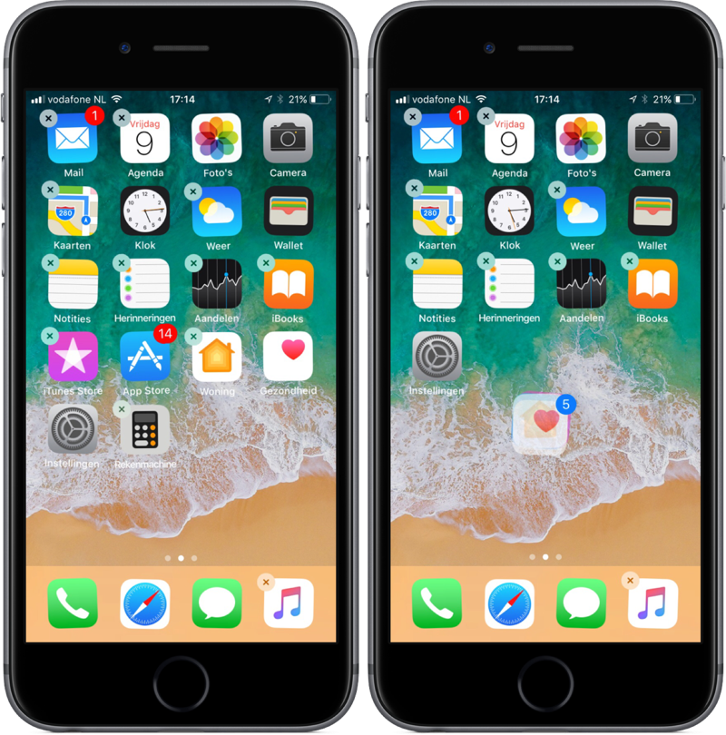 Meerdere apps tegelijk verplaatsen in iOS 11.
