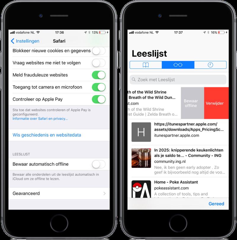 Safari leeslijst in iOS 11.