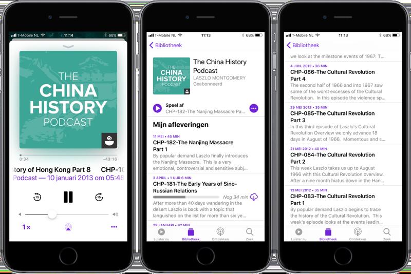 Podcasts-app iOS 11 serie met vaste volgorde