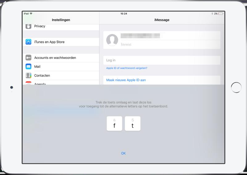 iOS 11 op de iPad met nieuw toetsenbord.