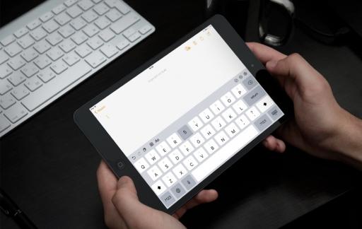 iPad met iOS 11 toetsenbord.