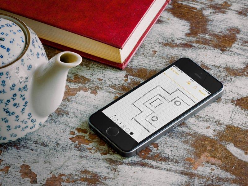 Notitites-app met ruitjespapier