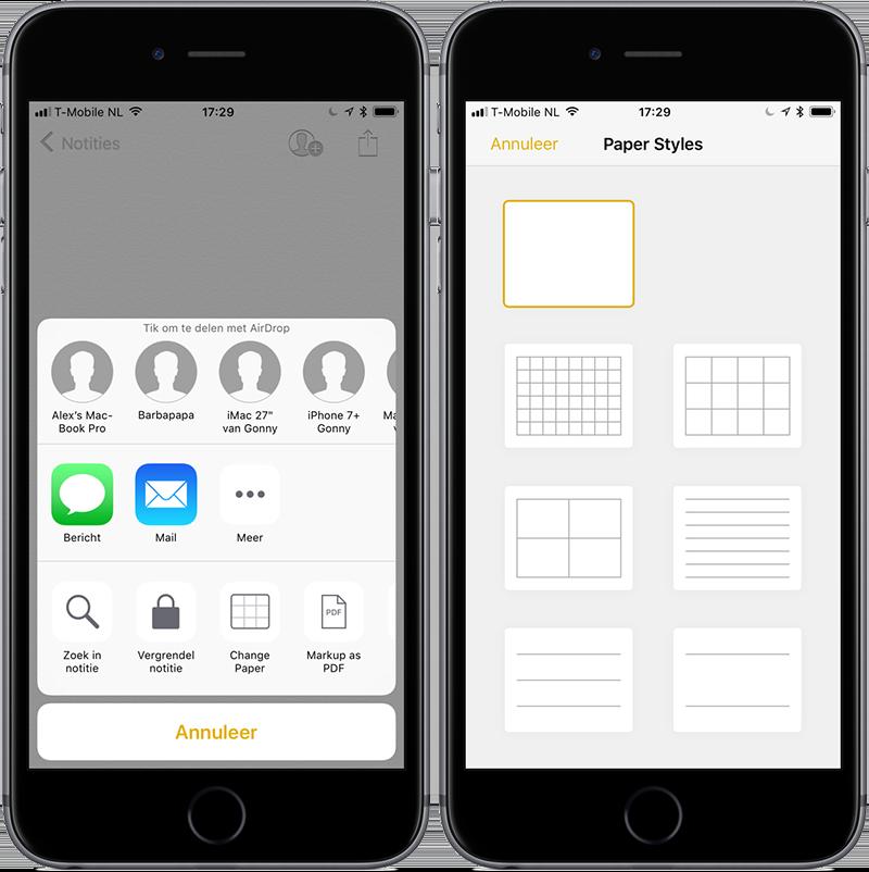 Notities-app: ruitjespapier gebruiken