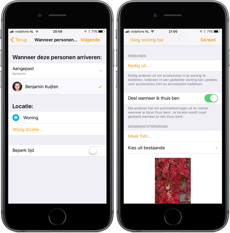 Woning-app voor HomeKit met meerdere locaties van gebruikers in iOS 11.