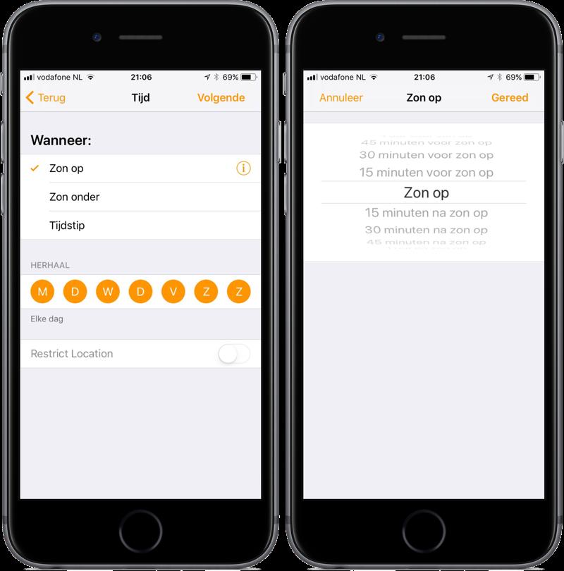 Woning-app voor HomeKit in iOS 11 met aangepaste tijden voor zonsopkomst en ondergang.
