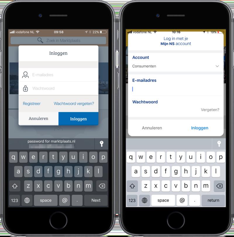 iOS 11 kan wachtwoorden automatisch invullen in apps.