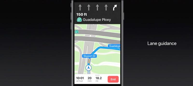 Apple Kaarten in iOS 11 met rijstrookbegeleiding.