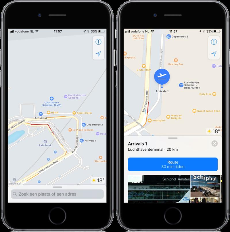 Apple Kaarten in iOS 11 met Schiphol.