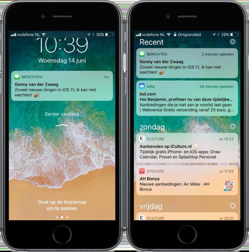 Gecombineerde Toegangsscherm en Berichtencentrum in iOS 11.