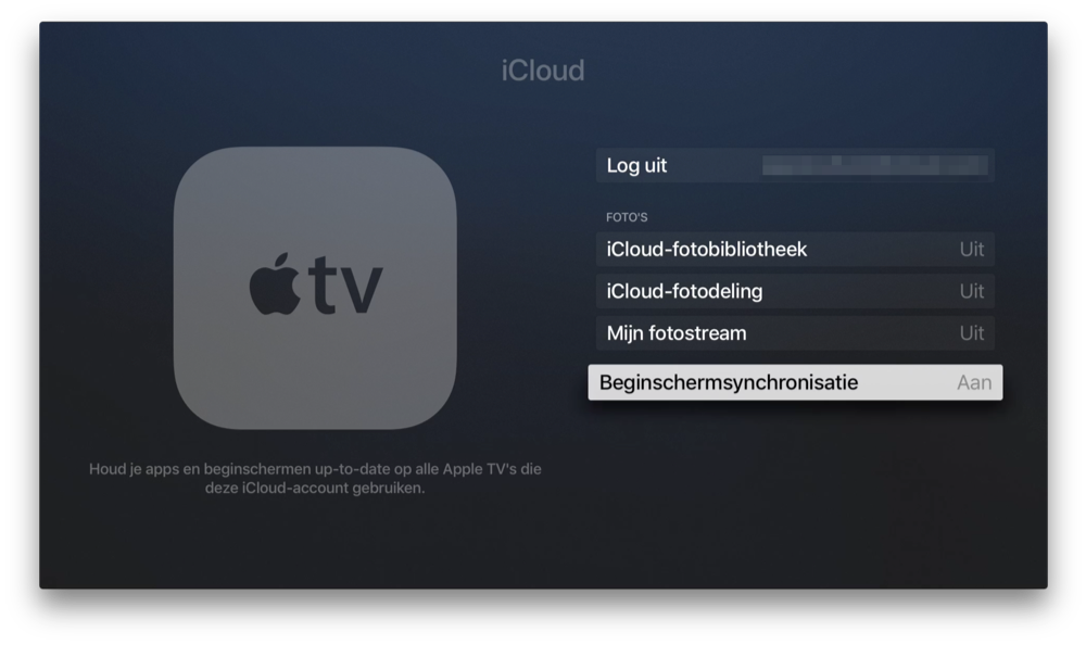 Apple TV met Beginschermsynchronisatie.